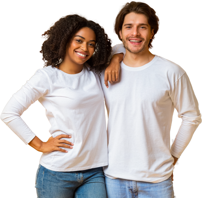 Woman and man lean on one another wearing matching white t-shirts