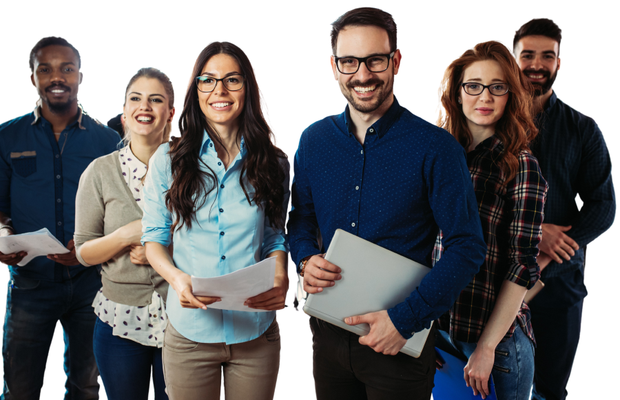 Group of six happy employees with various genders and ethnicities