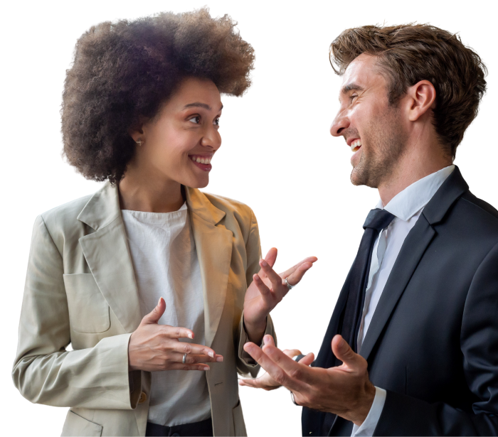 Black female enthusiastically speaking with her white male co-worker