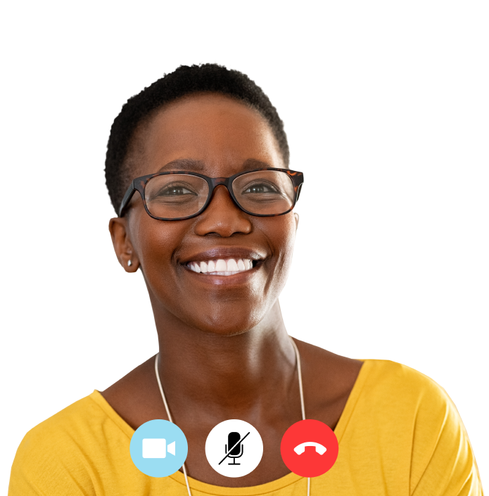 Picture of a woman through a Telehealth platform