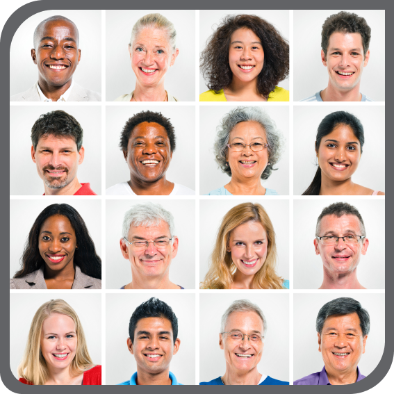 picture of 16 faces each in their own box