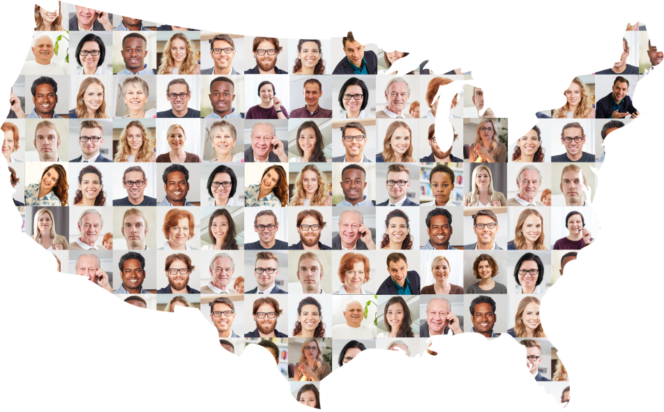 map of the United States with pictures of faces shown throughout
