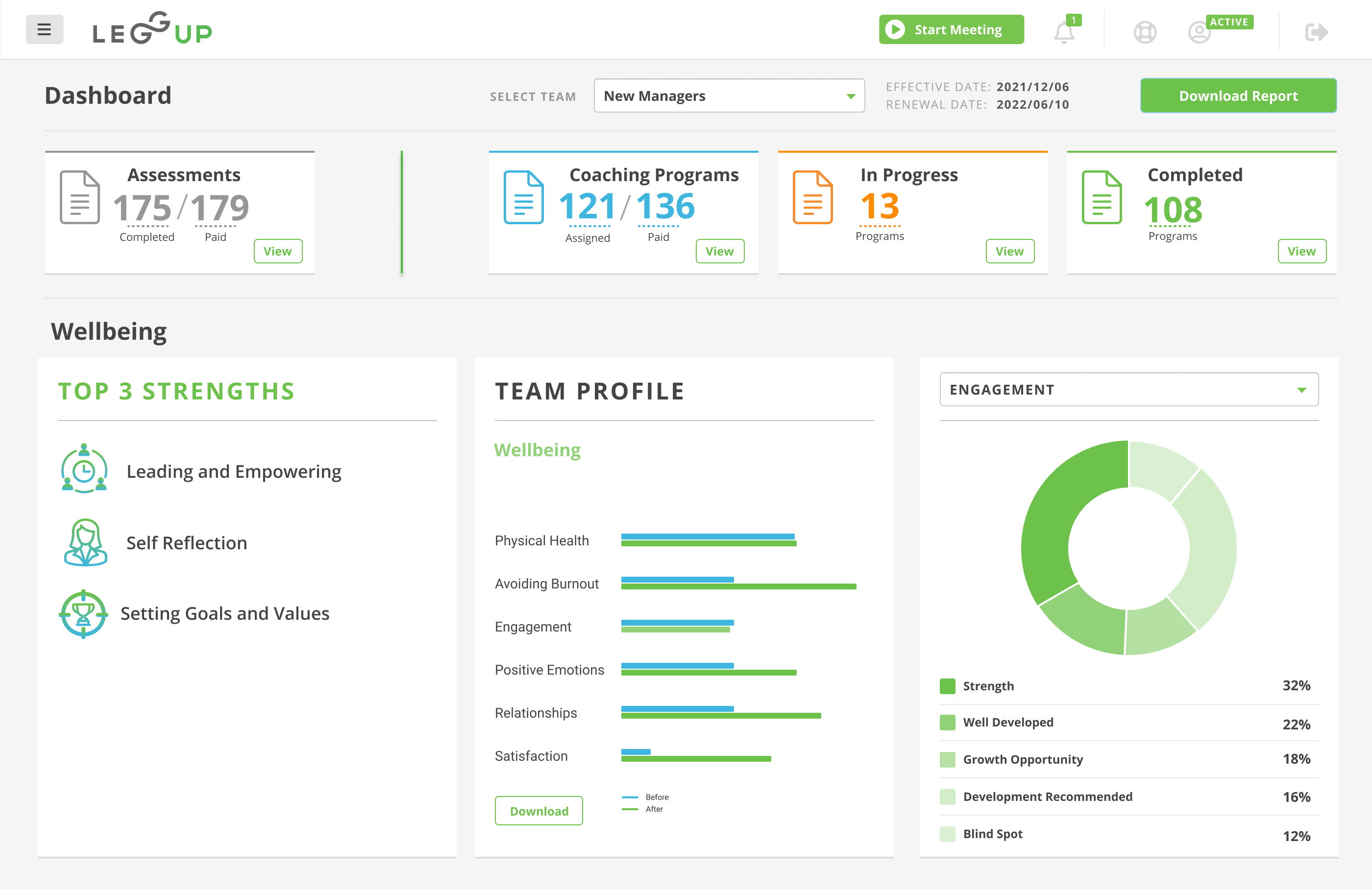 The Wellbeing section of the LeggUP leadership dashboard for large group employers