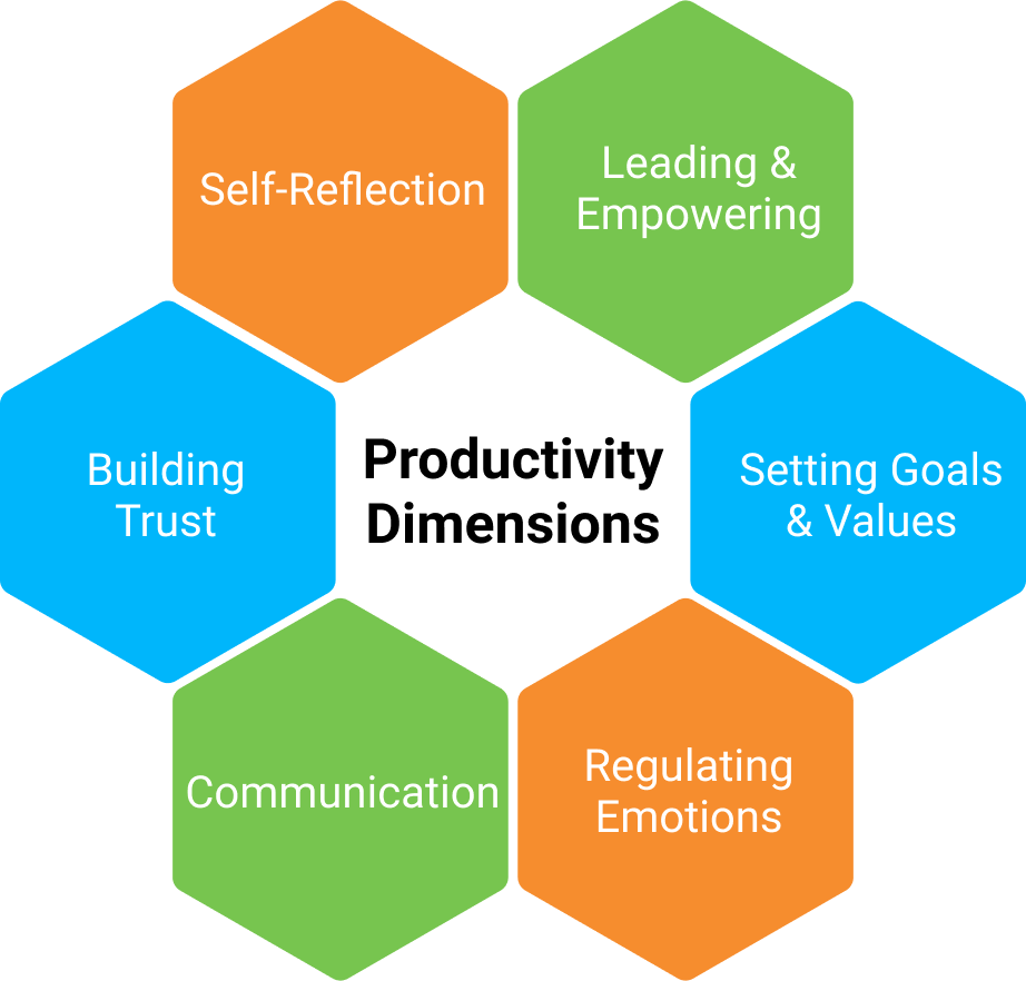 LeggUP's 6 dimensions of Productivity: Self-Reflection, Leading & Empowering, Setting Goals & Values, Regulating Emotions, Communication, Building Trust