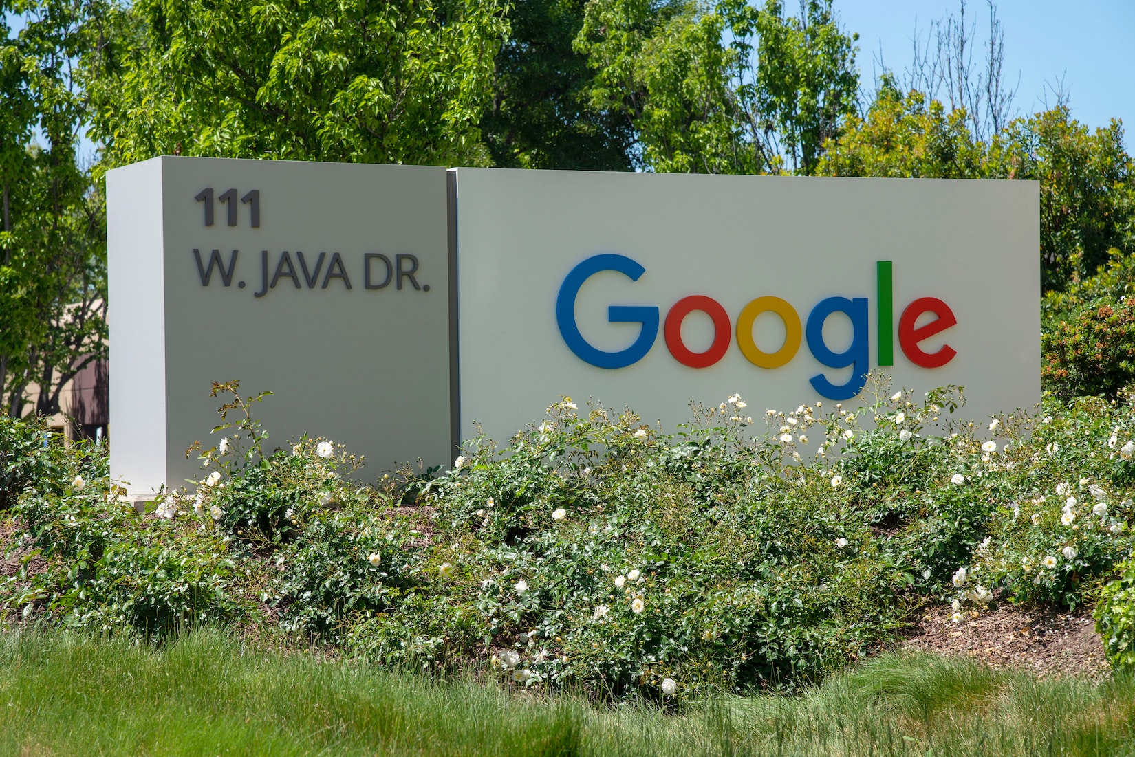 An image of Google sign from Google headquarter