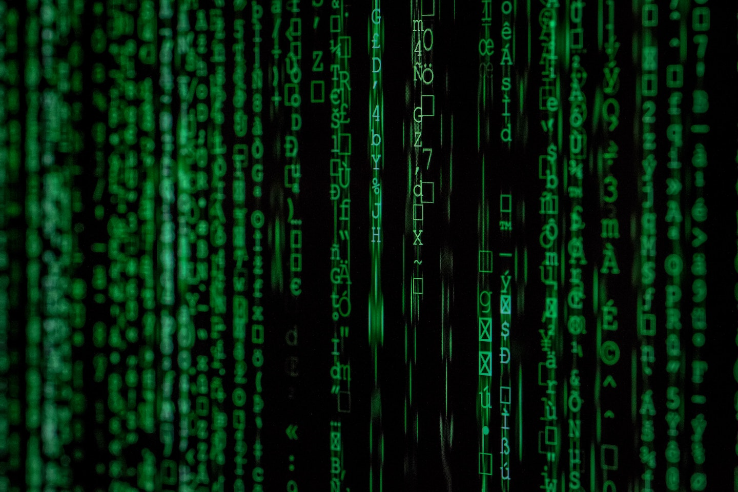 An image of codes in green across a screen
