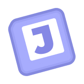 Logo of June. A purple square with the letter J inside of it tipped to the left.