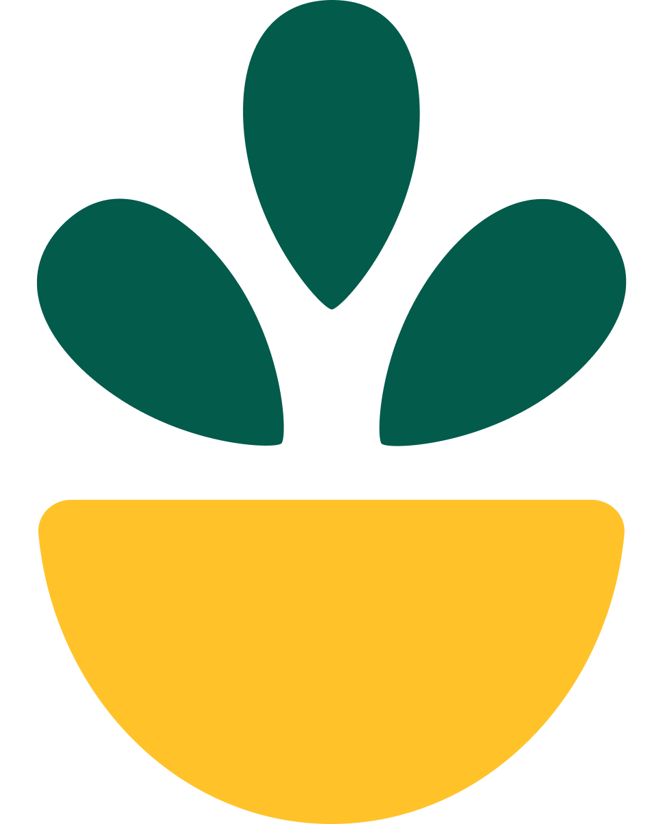 Logo of the company Grow. A yellow pot with a green plant
