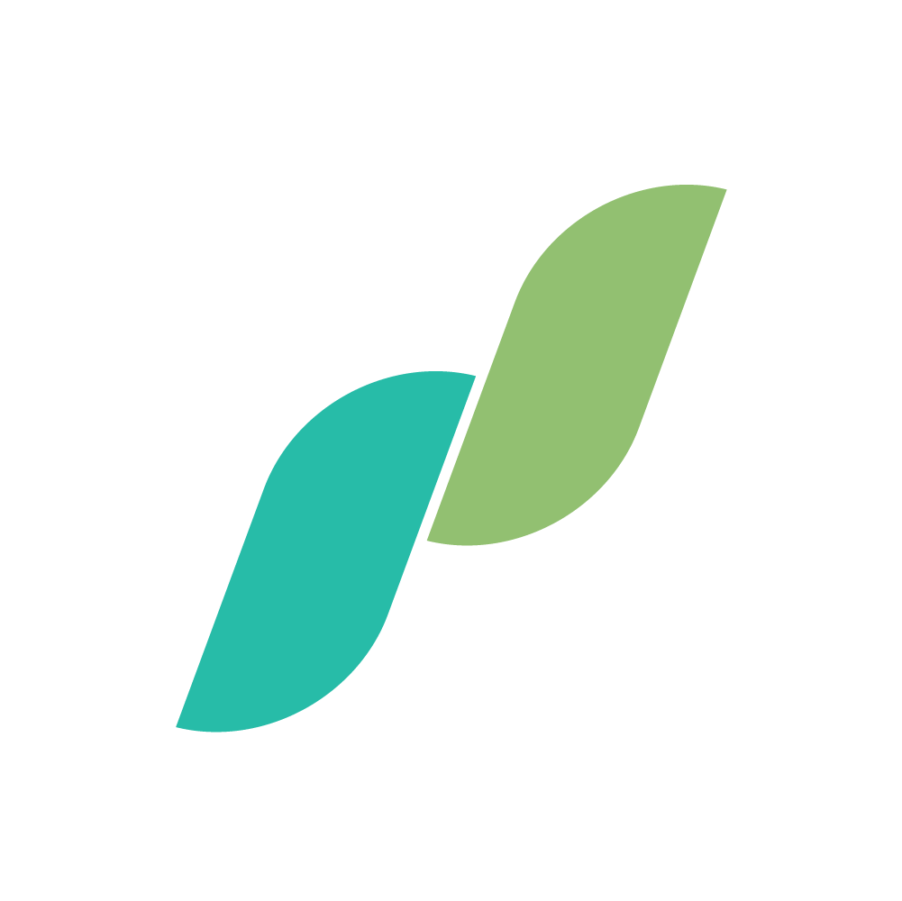 Logo of the company Prairie Health, two minimalistic green leaves, one light and one dark.
