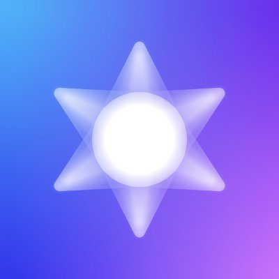 Great six corner star that is white with a background that goes from light blue to purple.