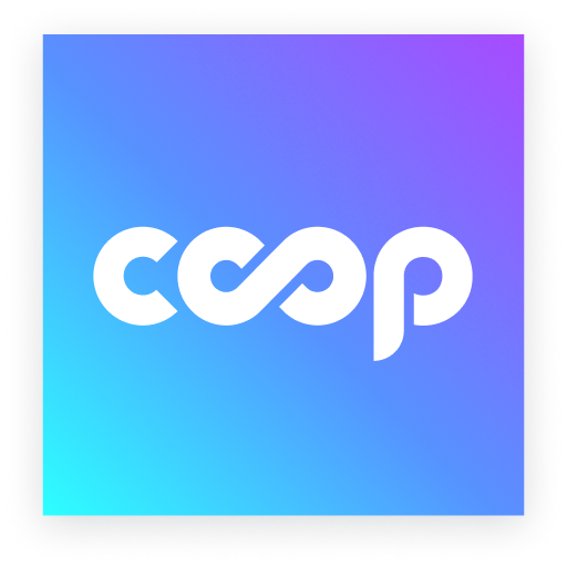 co-op but the 2 o's make an infinity sign in front of a gradient background