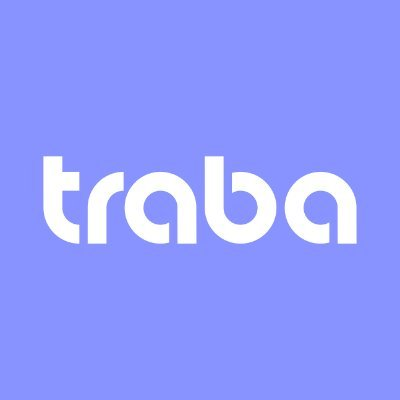 Purple background with white traba text.