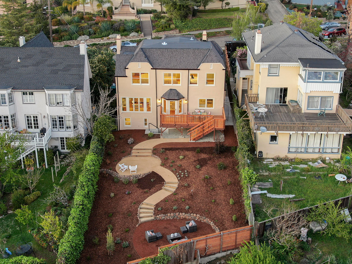 bird's eye view of the backyard and home