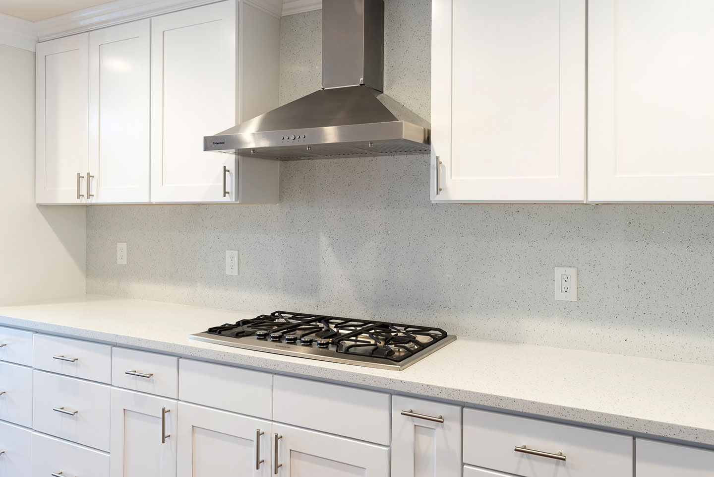 4 burner stove with stainless overhead exhaust