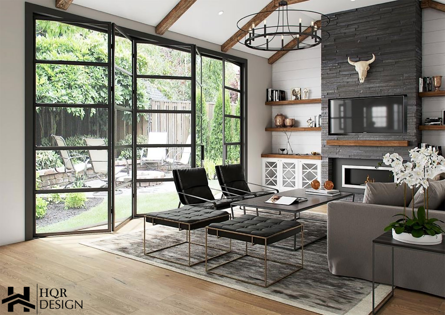 rustic living room with accordion windows