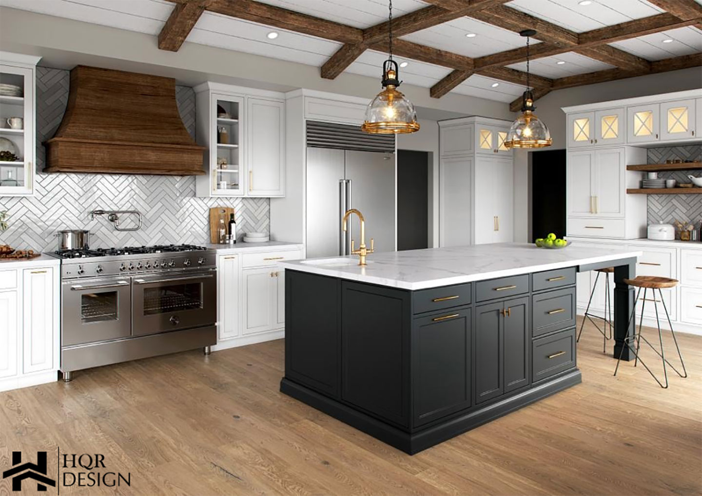 modern kitchen with black island walls and white countertop