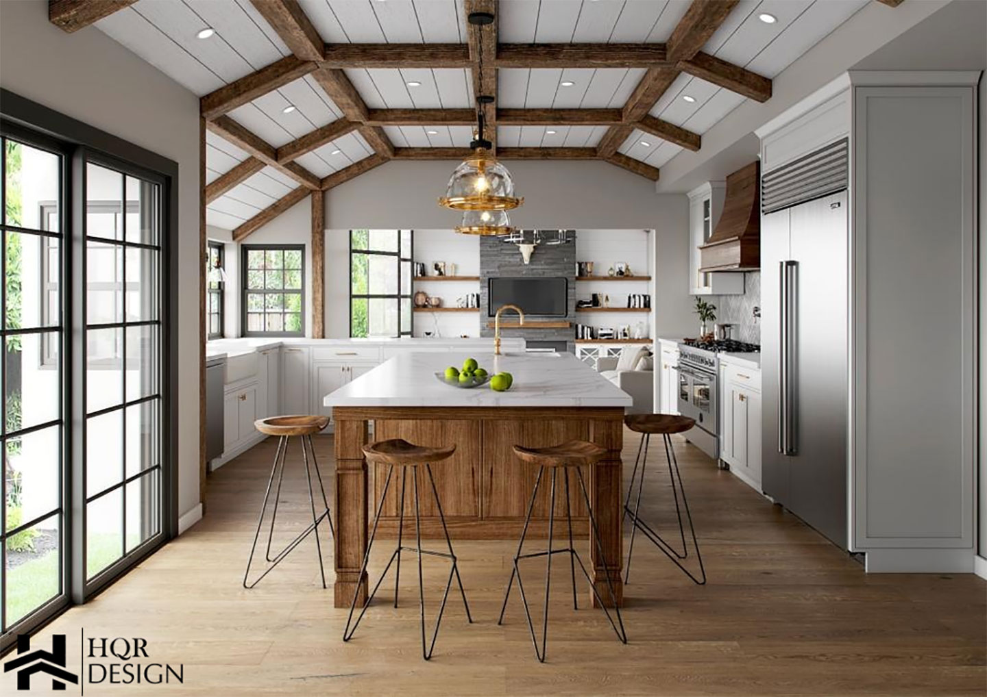 wood island walls with white counter top