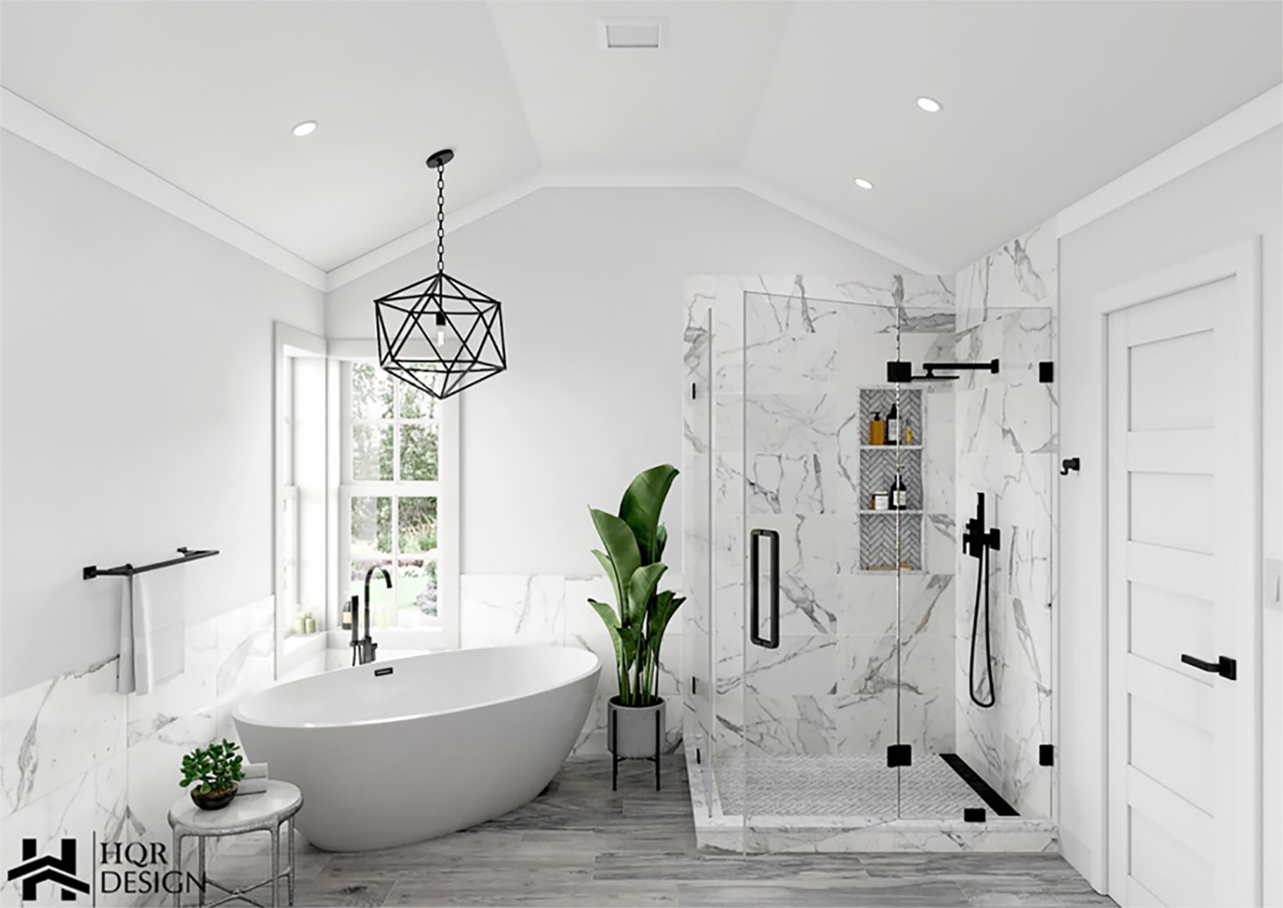 3d bathroom design overview with frameless shower area