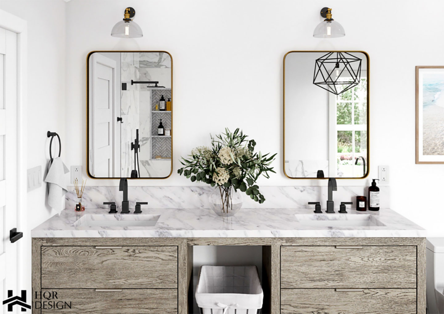 contemporary bathroom 3d design with double vanity