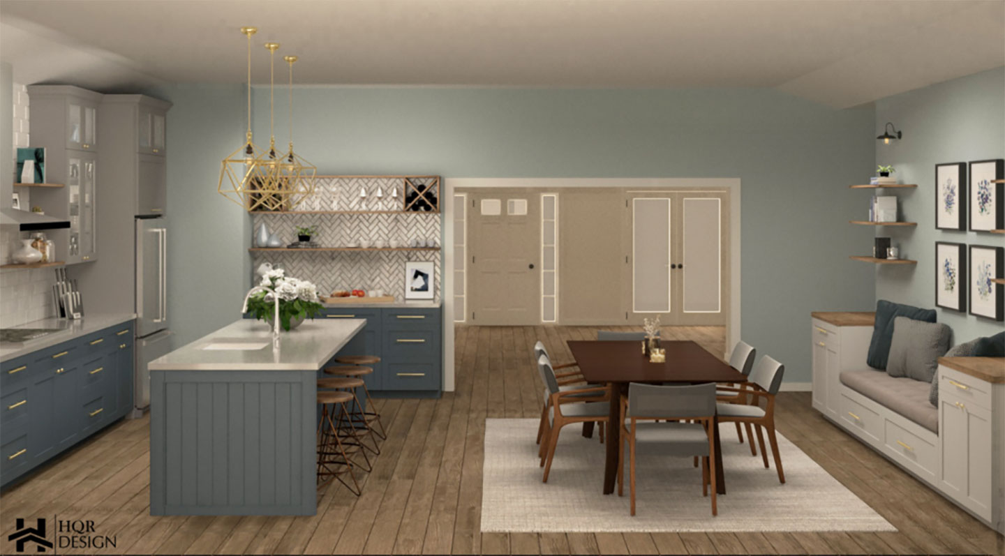 kitchen with white countertop and blue cabinets