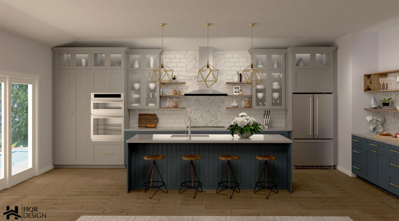 kitchen with ocean blue island