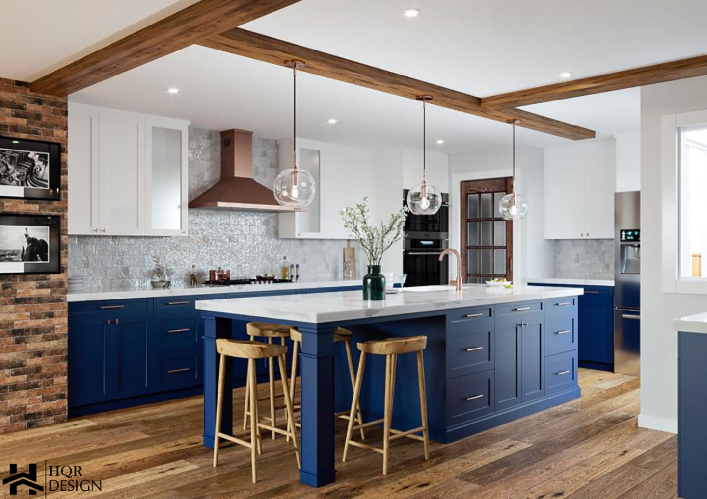 Mediterranean blue island with white countertop