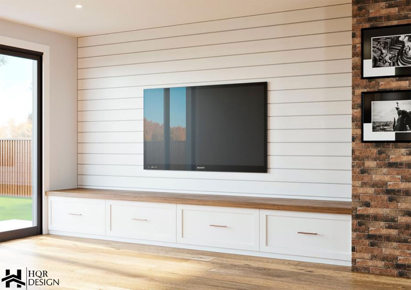 wood panel walls with white drawers