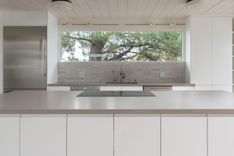 grey and sandstone theme kitchen