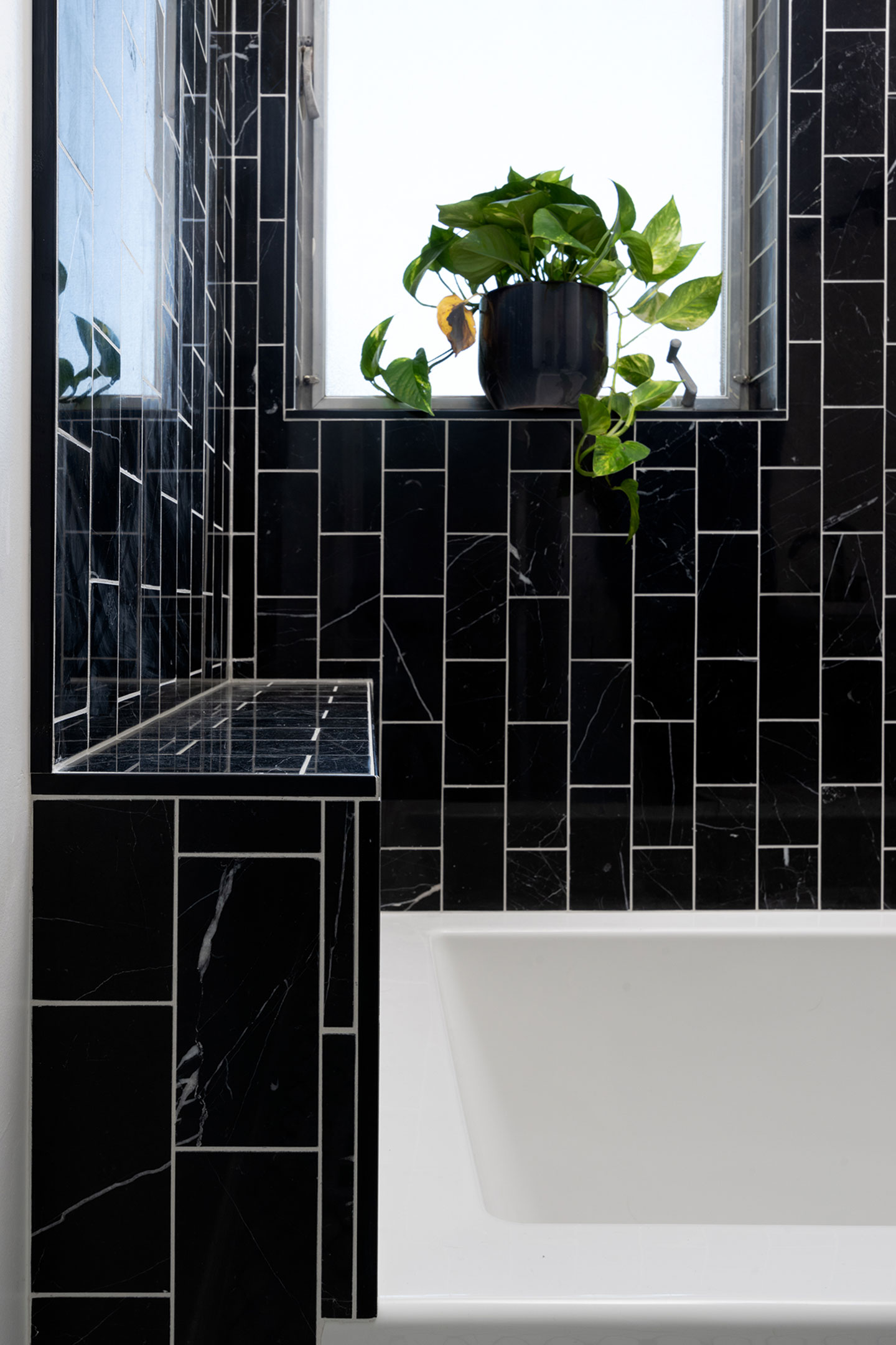 black tile with white grout