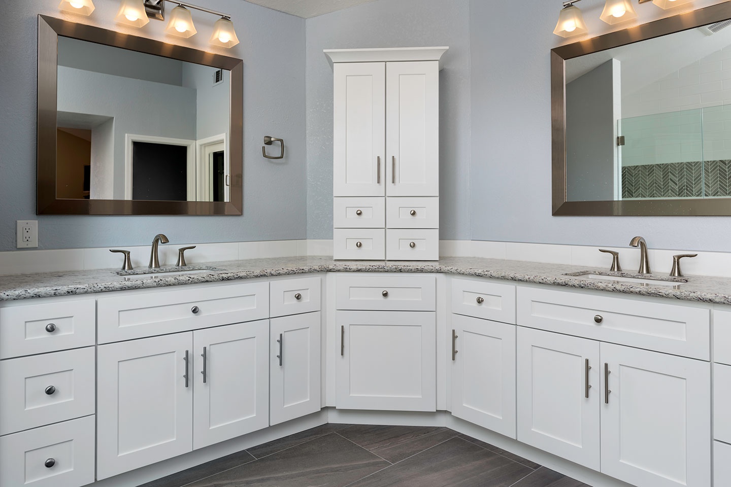 L shaped double vanity