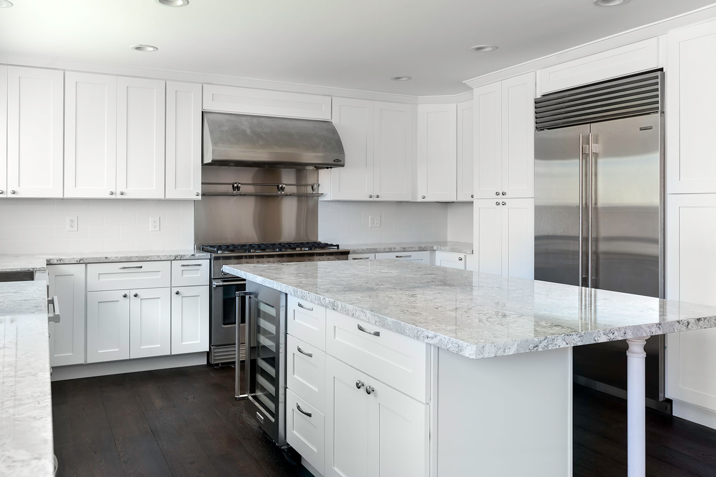 kitchen overview with wine cooler and fridge