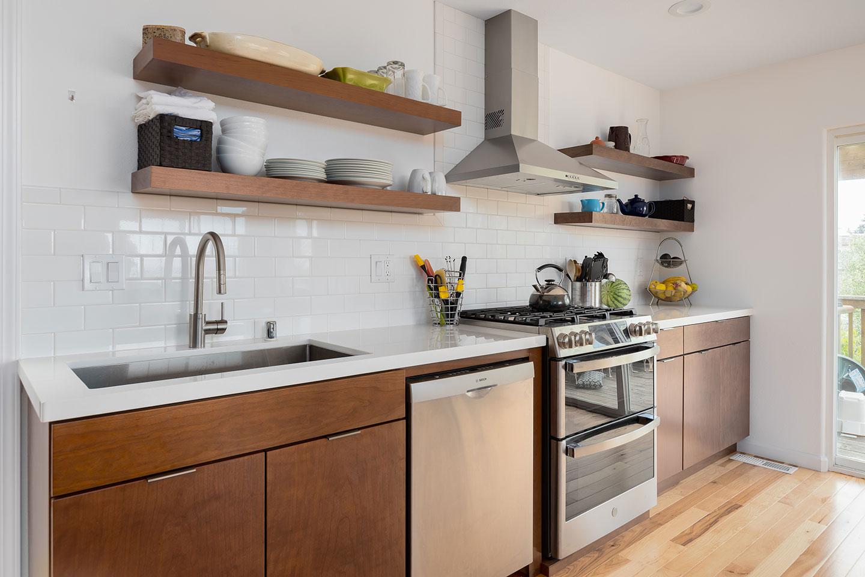 kitchen backsplash with floating wood shelves
