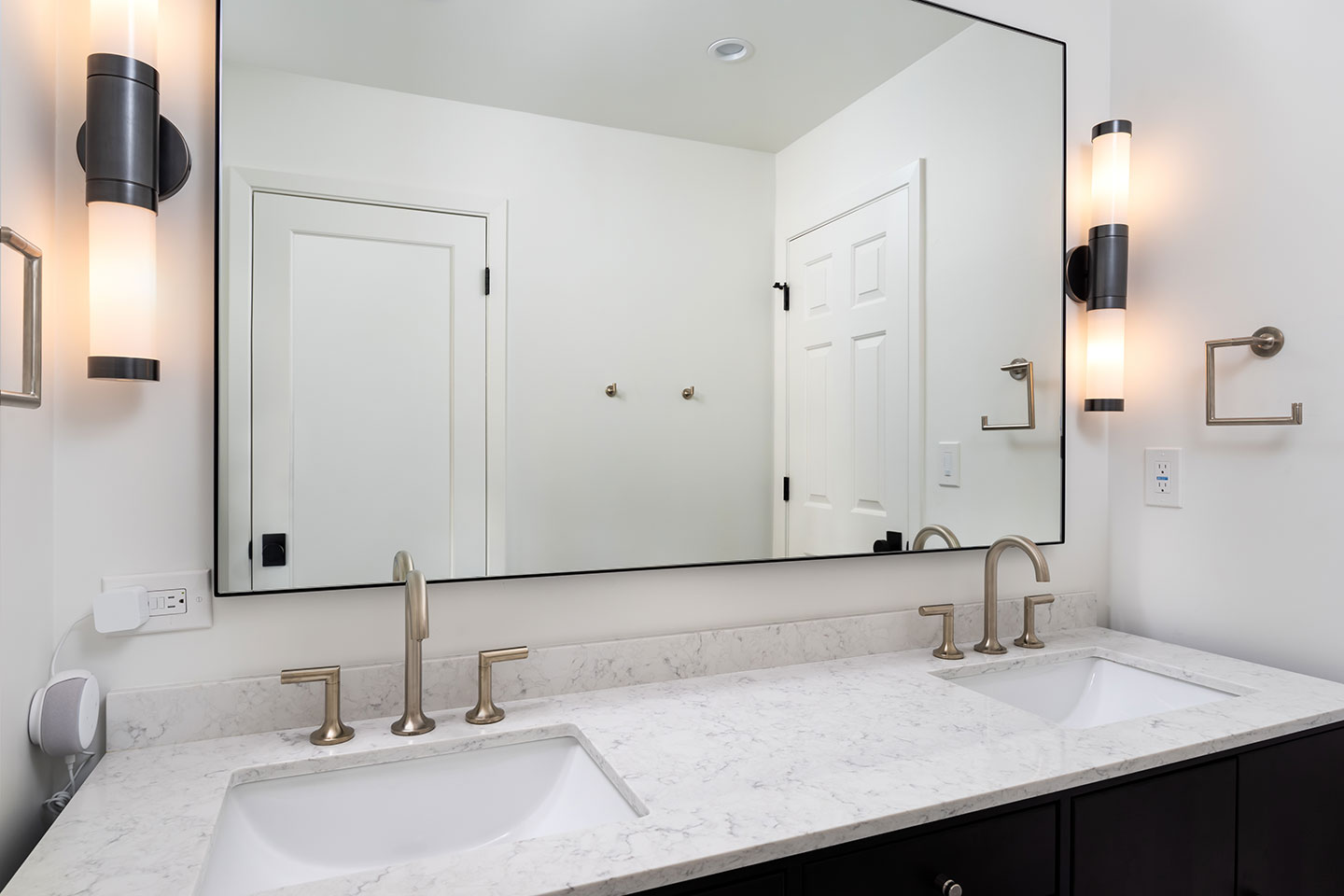 6 ft wide mirrors with modern light fixtures