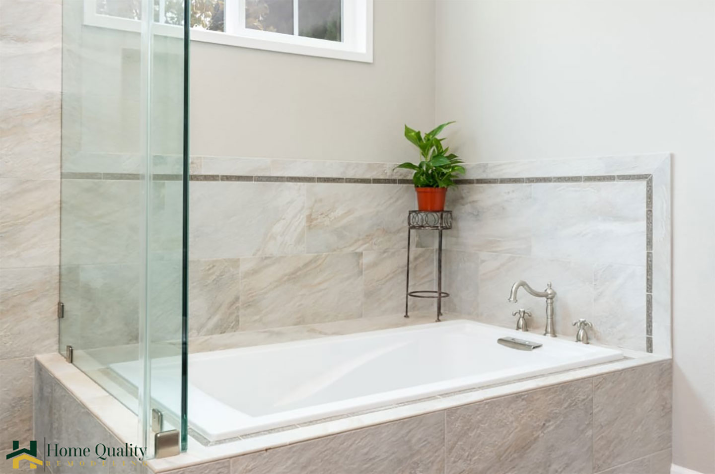 drop-in bathtub with glass screen