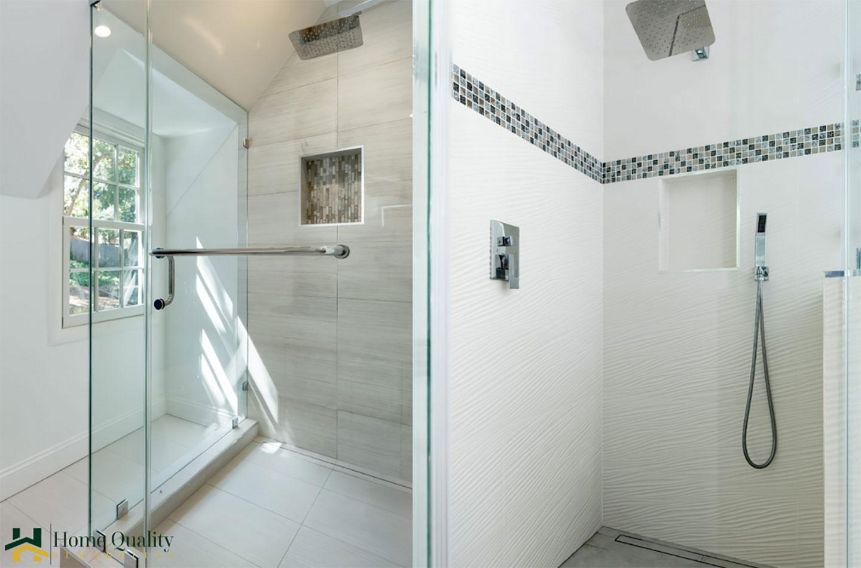 frameless glass shower area