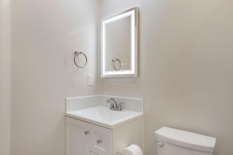 master bathroom single vanity sink