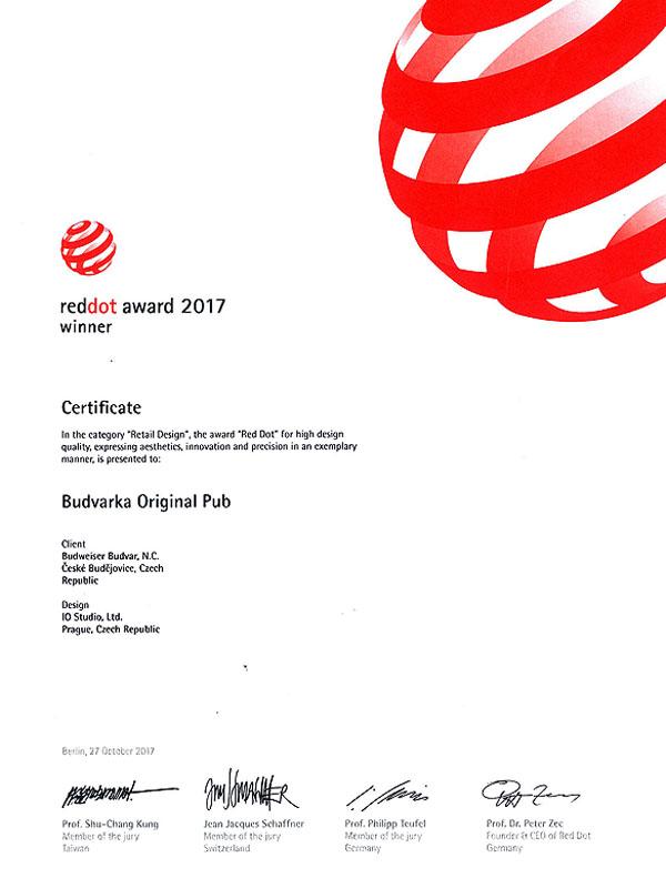 Diplom ocenění Red Dot 2017