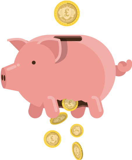 An illustration showing money being put into the top of a piggy bank and falling out of a hole on the bottom