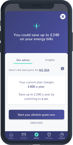 An OpenMoney app screen showing energy switching services