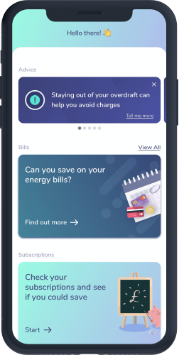 An OpenMoney app screen showing financial advice and bill switching services