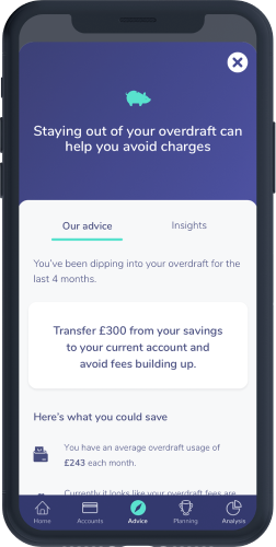 An OpenMoney app screen showing information about overdraft charges