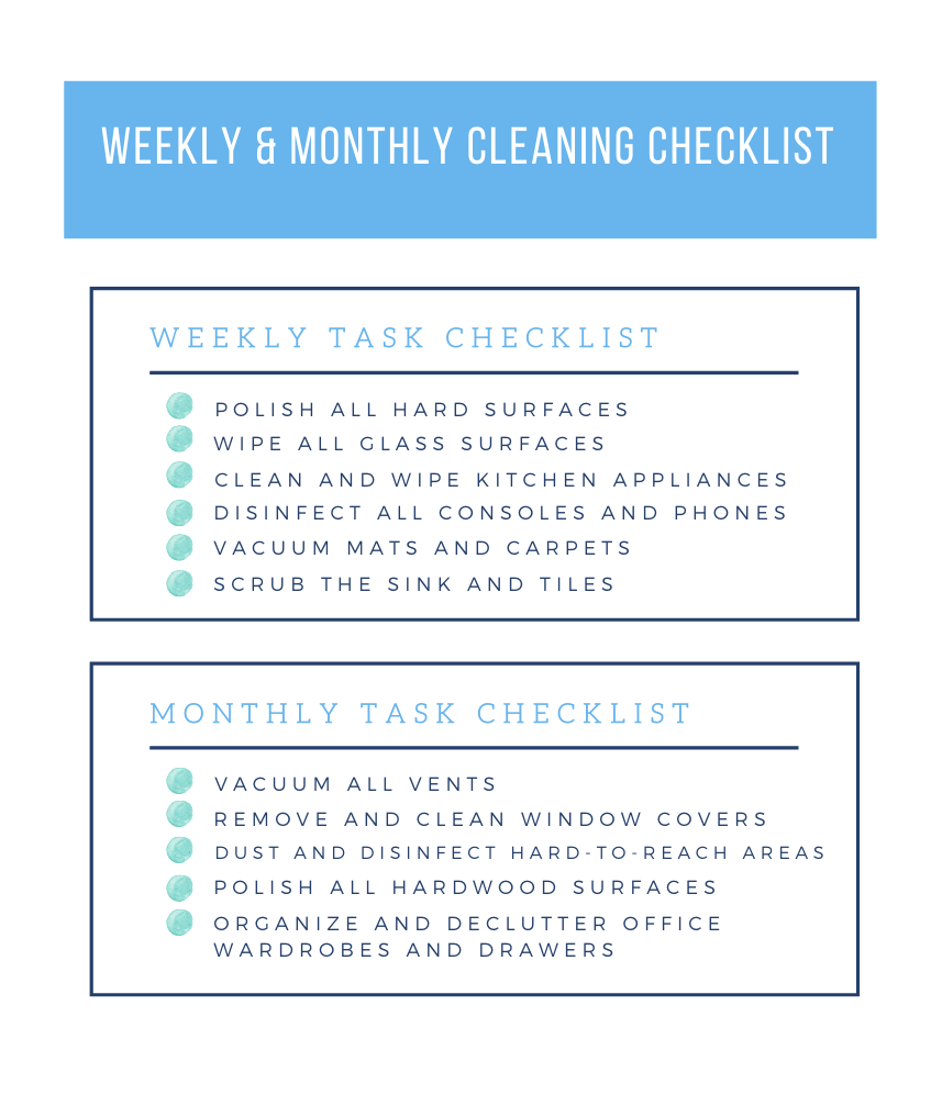 weekly and monthly office cleaning checklist