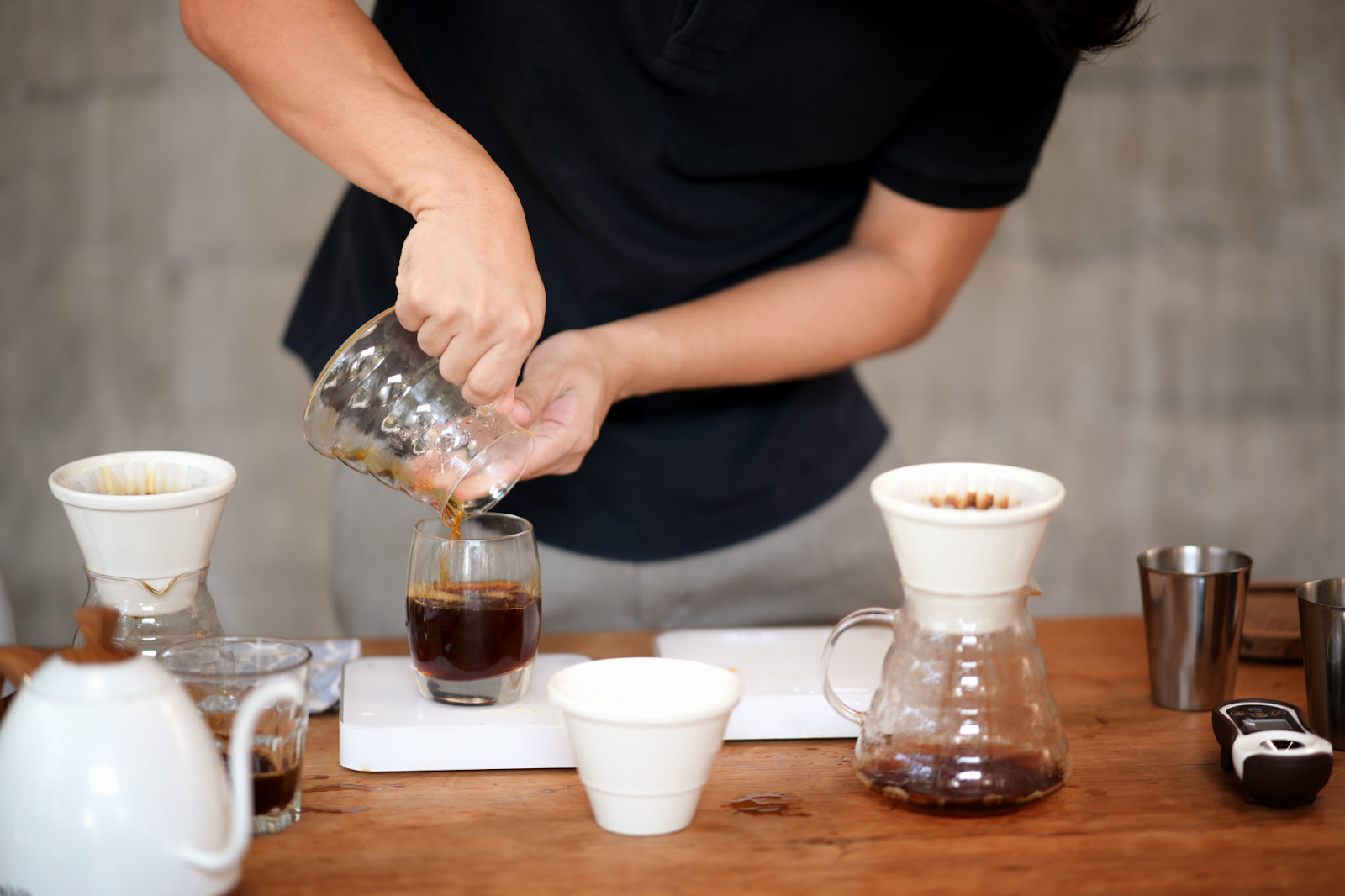 barista dripping coffee