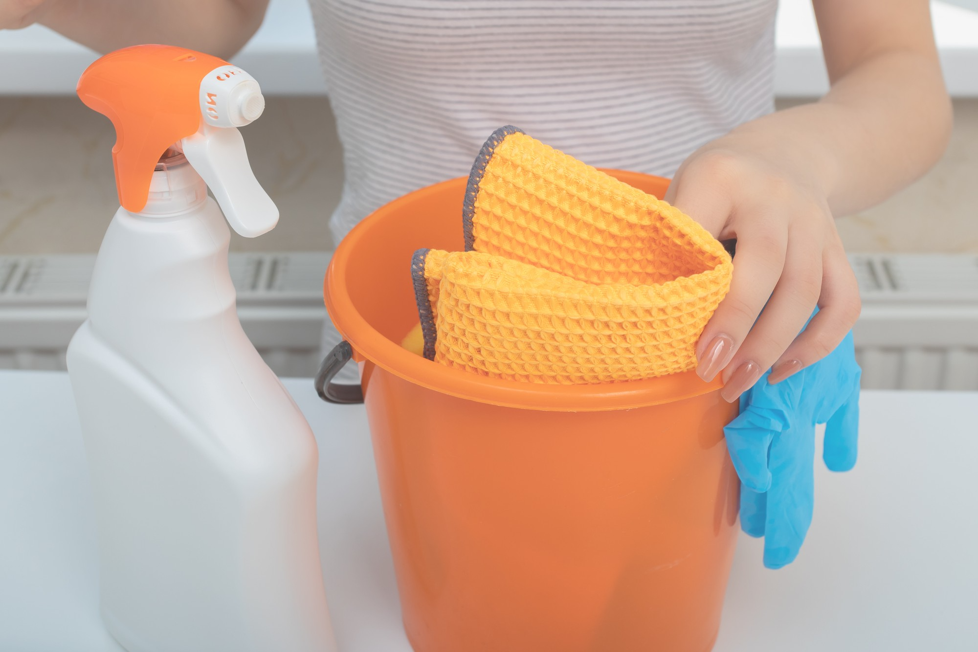 Woman holding bucket of cleaning supplies and spray bottle