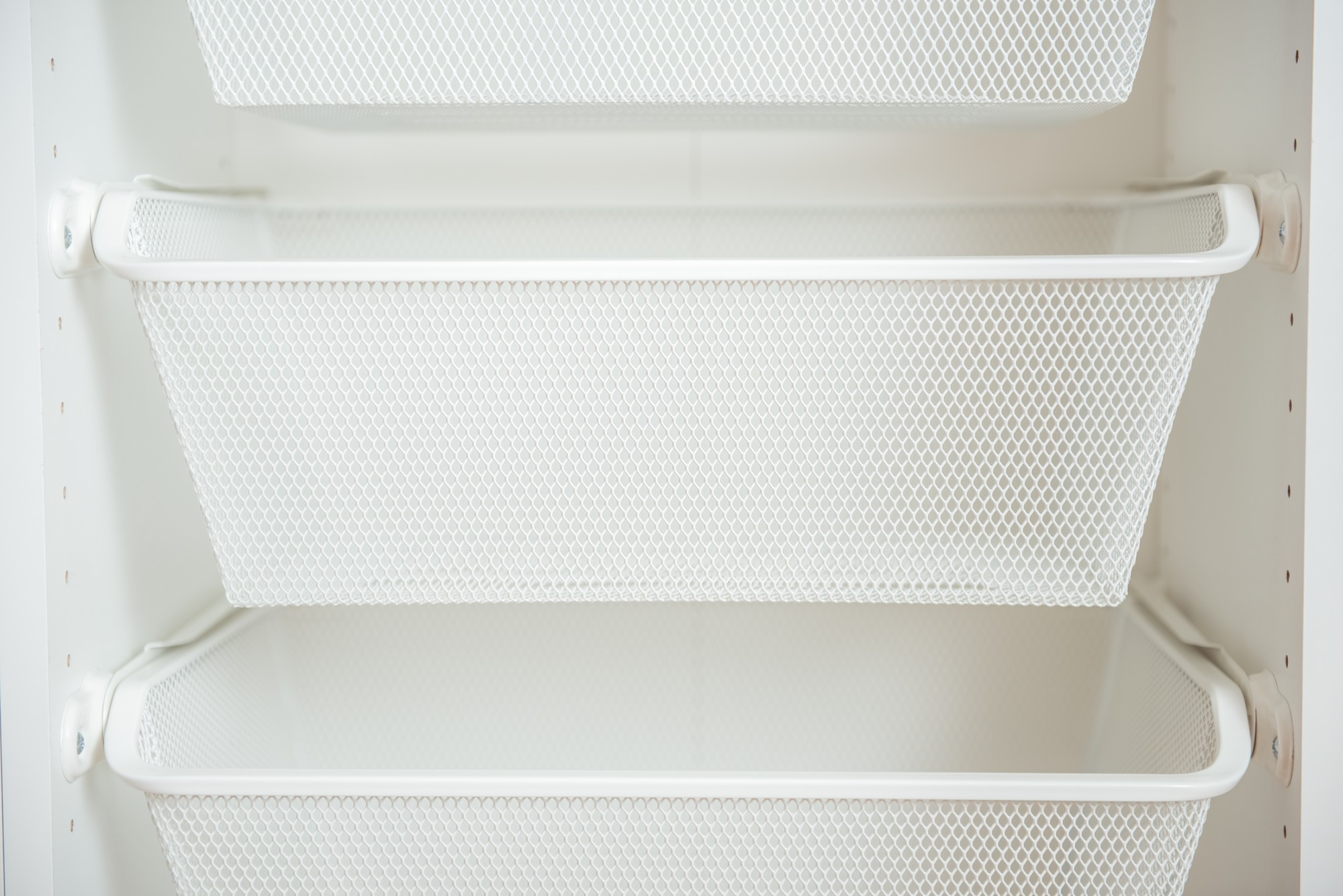 white metal baskets for storage