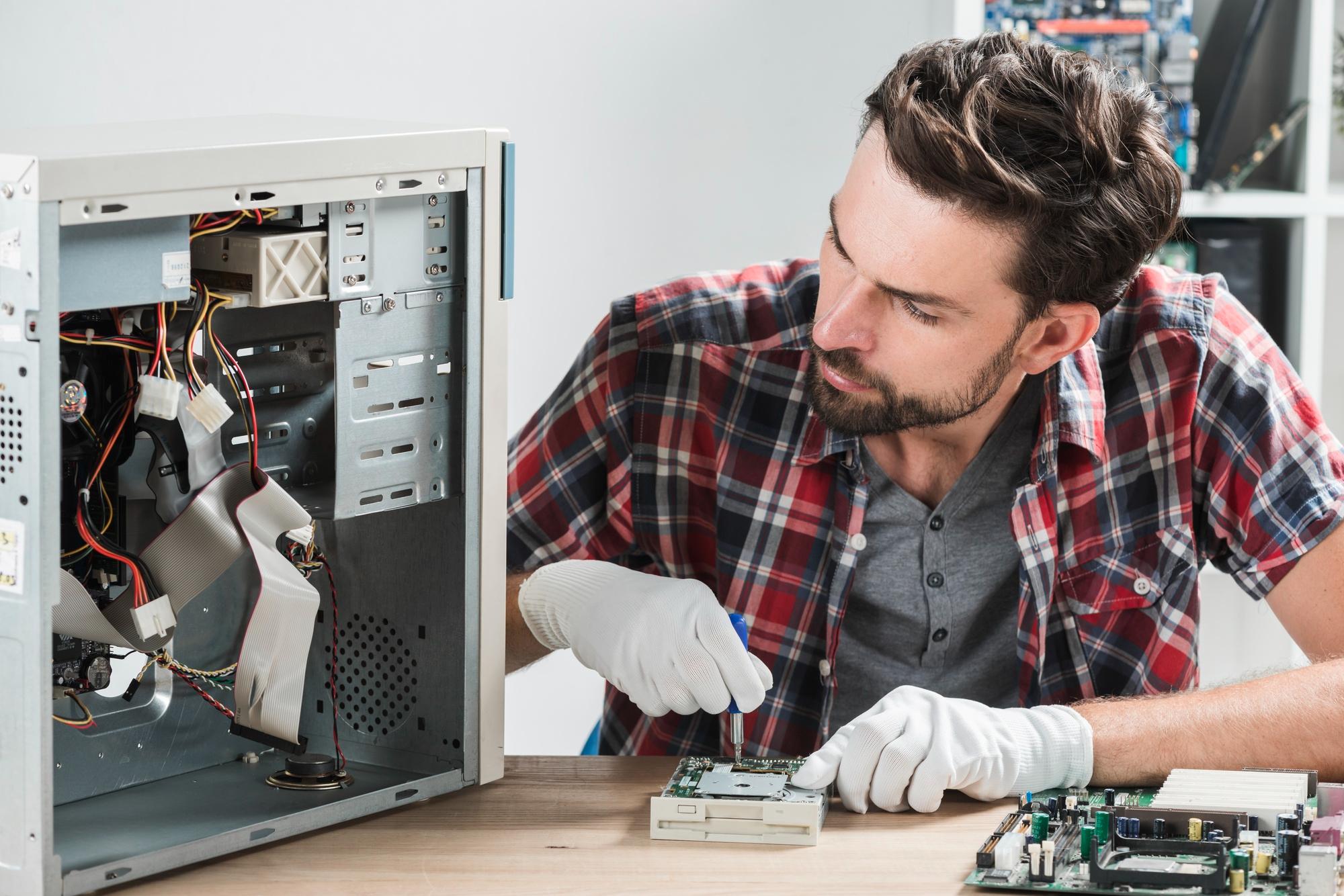 Technician working on CPU