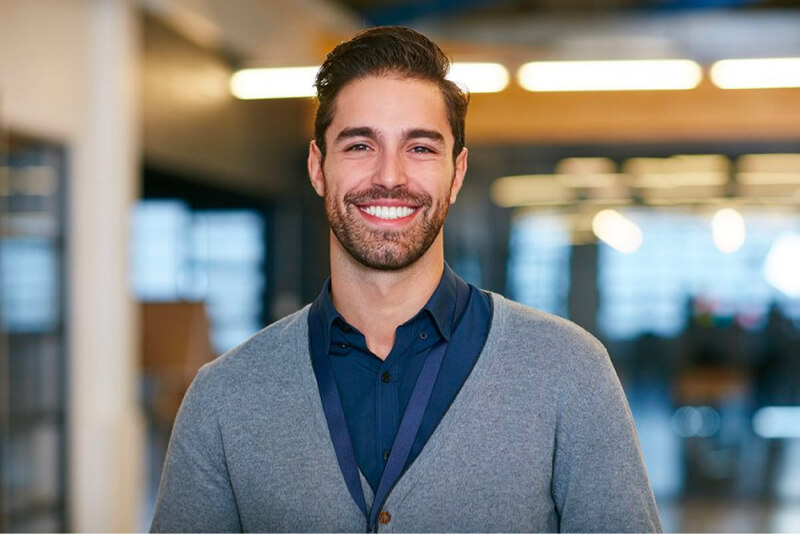 Confident man smiling startup business