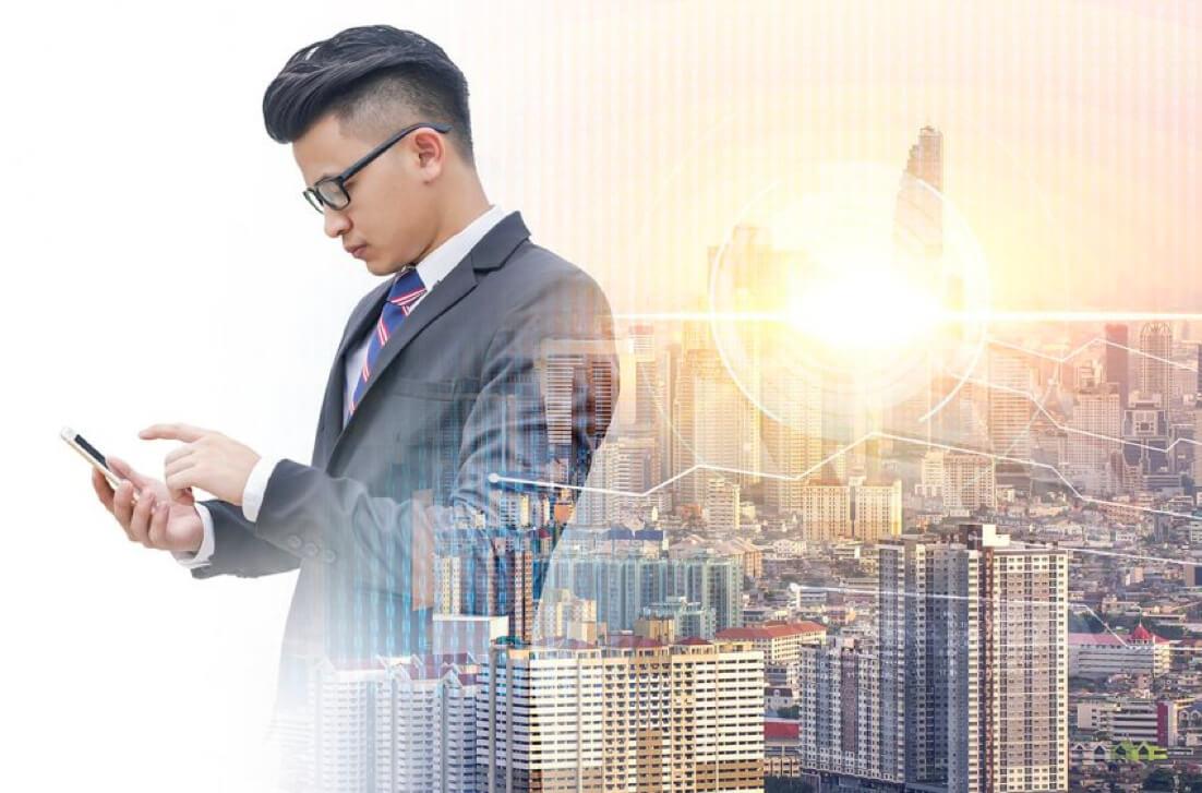 Asian young business man international credit insurance