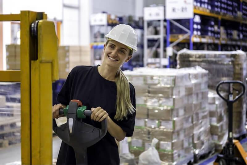 distribution center woman smiling