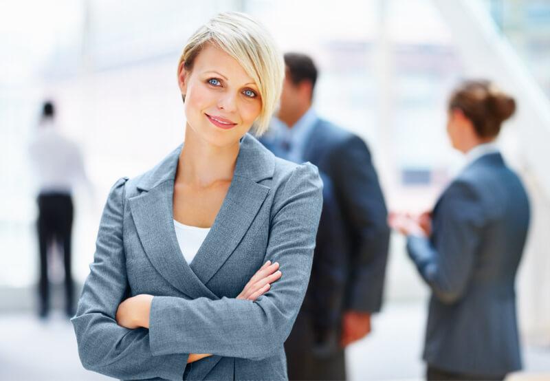 Confident business woman evaluates factoring